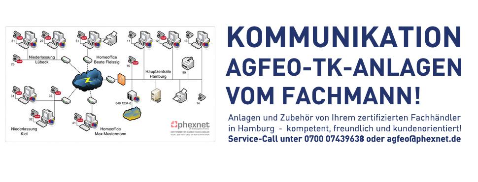 AGFEO Fachhändler für den Großraum Hamburg und das südliche Schleswig-Holstein - Service-Call ³ unter 0700 07439638